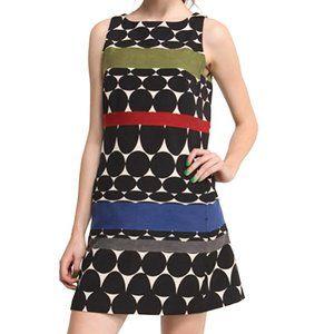 DESIGUAL Shift Dress Black White Circle Stripes XS